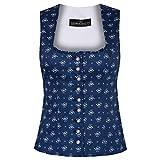 Berwin & Wolff Damen Trachten-Mode Trachtenmieder Gina in Blau Traditionell, Größe:46, Farbe:Blau