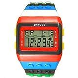 Farbe Multifunktion Armbanduhr - SHHORS Regenbogen Farbe Multifunktion Wasserdichte LED Kinder Armbanduhr Schwimmen Sportuhr Digital Armbanduhr (styel 3)