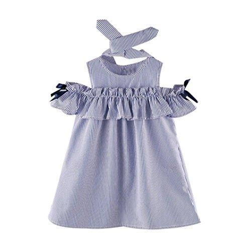 Vestidos niñas baratos Switchali infantil bebe nina verano rayas Vestido con cinturón bowknot princesa Vestido de fiesta Dama de honor Vestidos chicas Moda Tutú vestido + venda (15 (5~6años), Azul)
