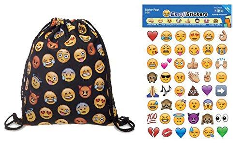 Emoji-Sticker 192der beliebtesten emojis Pack & Emoji-Kordelzug Tasche Teenage Schulter Schule Rucksack Reisen Gym