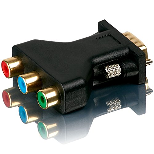 Movoja 3 RGB auf VGA Adapter | 3 RCA Video Female auf HD 15-Pin Male VGA S-VHS AV | Adapter Konverter Monitor | vergoldete Stecker 15 Pin Vga-zu-rca