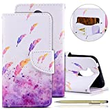 Huawei Honor 6A Leather Case,Huawei Honor 6A Wallet Case,Huawei Honor 6A Shockproof Case,Herbests 3D Butterfly Flower Cat Embossing Colorful Pattern PU Leather Flip Case with [Kickstand] Stand Function Card Holder and ID Slot Slim Flip Protective Skin Cover for Huawei Honor 6A + 1 x Touch Pen-Watercolor feather