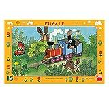 Dinotoys 1039 Hochwertiger Schreibtisch Puzzle mit Rahmen;Kleines Maulwurf-Motiv, 15 Stück