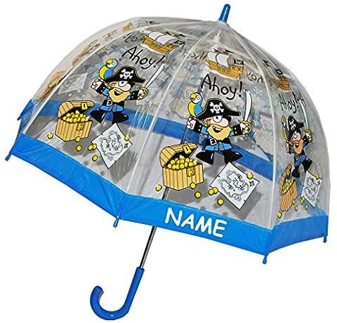 Regenschirm Pirat / Schatztruhe - Kinderschirm incl. Namen - transparent Ø 70 cm - Kinder Stockschirm - für Jungen Schirm Kinderregenschirm / Glockenschirm Piraten Piratenschiff durchsichtig &