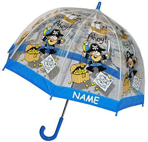 Für Jungen Truhen Spielzeug (Regenschirm Pirat / Schatztruhe - Kinderschirm incl. Namen - transparent Ø 70 cm - Kinder Stockschirm - für Jungen Schirm Kinderregenschirm / Glockenschirm Piraten Piratenschiff durchsichtig & durchscheinend)