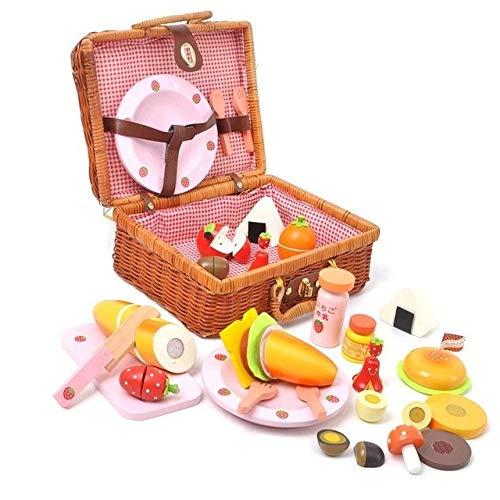XuBa Baby Spielzeug Mutter Garten Erdbeere Picknickkorb Set Holz Spielzeug Rattan Korb Lebensmittel Spielzeug Baby Erziehungsgeschenk Geburtstag Geschenk Wie abgebildet - Picknick-korb Uk