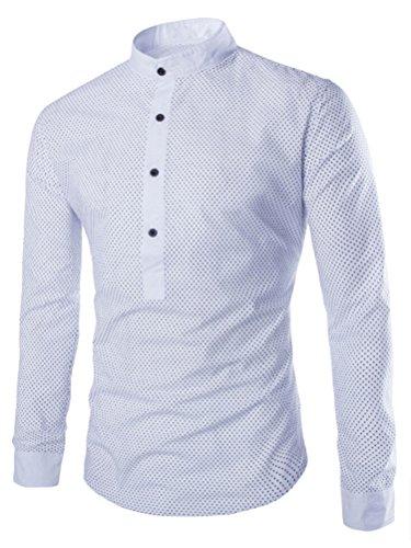 SMITHROAD Herren Trachtenhemd Langarmhemd Langarm Shirt mit Stehkragen Slim Fit Figurbetont Weiß M