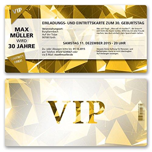 (30 x) Einladungskarten Geburtstag VIP Party Edel Gold Ticket Karte Einladungen