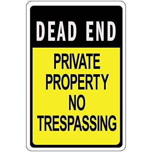 Monsety Rustikales Metallschild Post Dead End Private Property No Trespassing, Aluminium - End-post