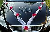 Rubans Organza M Autoschmuck -Rubans en organza pour décorer votre voiture lors d'un mariage - Rose - Avec cœurs Pink / Weiß Weiß