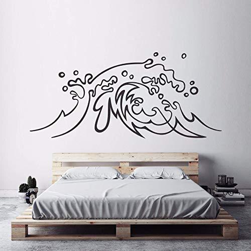 daufkleber Ozeanwelle Vinyl Aufkleber Surf Art Home Schlafzimmer Dekor Strand Thema Meereswellen Wandbilder 57 * 62 CM ()