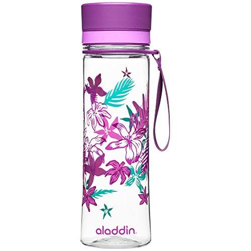 Aladdin AVEO Trinkflasche aus Tritan-Kunststoff, 0.6 Liter, Lila, Auslaufsicher, Durchsichtig, Wasserflasche Fahrradflasche -