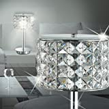 MIA Light Kristall Tisch Leuchte ↥280mm/ Modern/Chrom/ Nacht Lampe Rund Kristalllampe Kristallleuchte Nachttischlampe Nachttischleuchte Tischlampe Tischleuchte