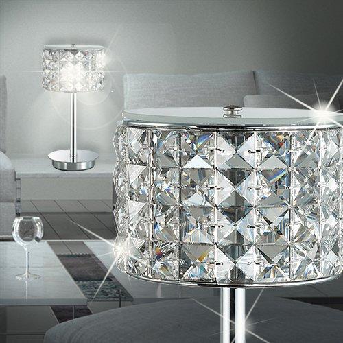 - Chrom-kristall-tisch-lampe (MIA Light Kristall Tisch Leuchte ↥280mm/ Modern/ Chrom/ Nacht Lampe Rund Kristalllampe Kristallleuchte Nachttischlampe Nachttischleuchte Tischlampe Tischleuchte)