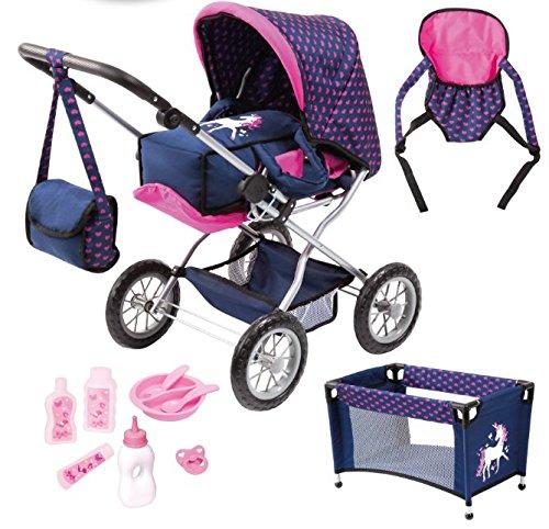 Bayer Design 15054AB Kombi-Puppenwagen Grande, Set mit Tasche, Trage, Teller, Gabel, Löffel, Reisebett, Puppenzubehör, blau, rosa, Einhorn
