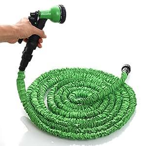 Ogima - Tubo da Giardino in Lattice Flessibile con Pistola 7 Funzioni e Valvola di Spegnimento - Verde, 15mt