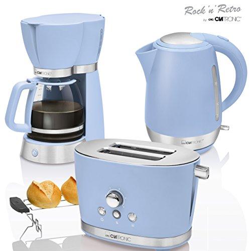 CTC Set Frühstück Vintage, Kaffeemaschine Filterkaffeemaschine 15Tassen, Brot 2Scheiben-Toaster, Wasserkocher 1,7Liter, Retro, Pastellblau