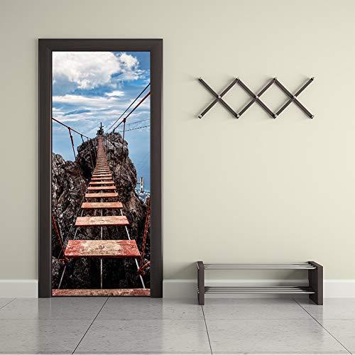 MINRAN DECOR Poster de Porte Autocollant pour Décoration de Porte Modèle de Corridor 3D Pont Suspendu Auto-adhésif Imperméable 200 * 77cm, 77 * 200cm