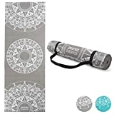 Core Balance Mandala Printed Spiritual Yoga Exercise Mat, Patterned Non-Slip Foam, 6mm Thick