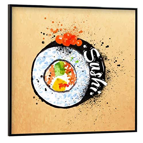 artboxONE Poster mit schwarzem Rahmen 20x20 cm Sushi Watercolor von Anna Kozlenko - Poster mit Kunststoffrahmen