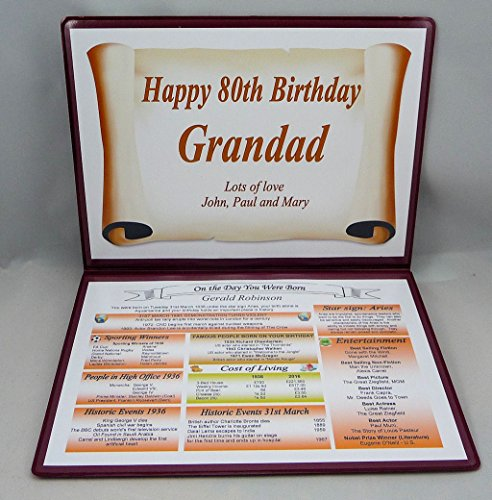 PERSONALISED 80TH BIRTHDAY GIFT – THE DAY YOU WERE BORN – KEEPSAKE