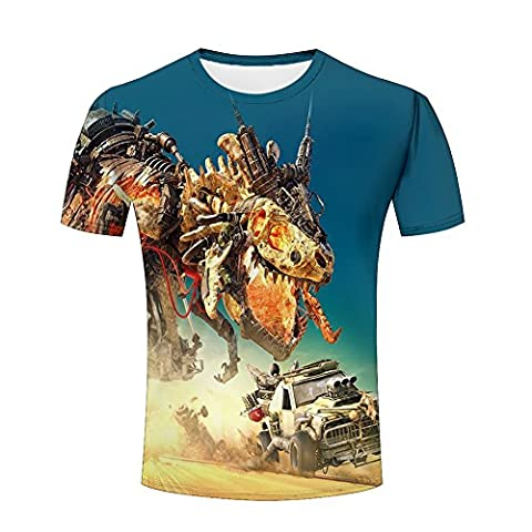 Mens 3d Machine dinosaurs Silhouette Printed Pattern Short Sleeve Shirt Cool Graphics Tees M (Short Sleeve Folie)