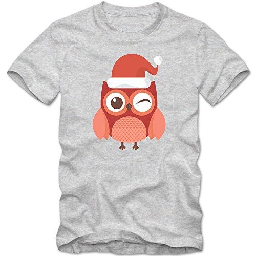 Weihnachtseule T-Shirt | Eule | Weihnachtsmann | Weihnachten |Nikolaus | Frohes Fest | Herrenshirt © Shirt Happenz Graumeliert (Grey Melange L190)