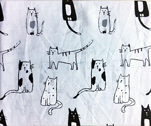 Cynthia Rowley 3Stück Twin Größe Einzelbett Baumwolle Blatt Set Artistic Schwarz Weiß Grau Katzen