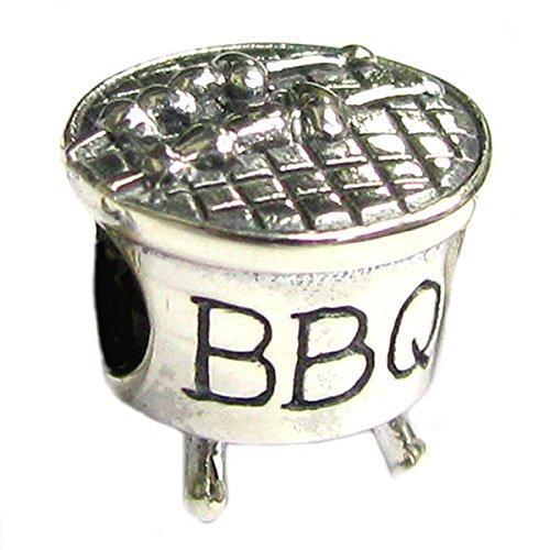 Queenberry Sterling Silber BBQ Charm Bead für europäische Charm-Armbänder (Sterling Silber Cue)