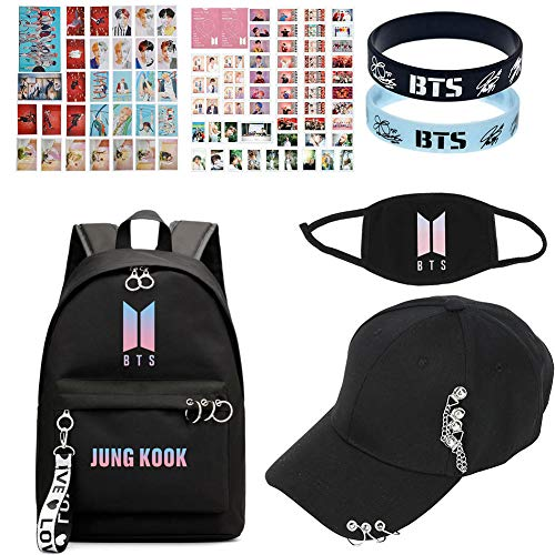 Kingmia BTS, BTS Rucksack+BTS Baseball Cap+BTS Maske + 2*Armbänder BTS+30*BTS Lomo Card+50*BTS Lomo Card, Geschenke für die Army(H12)