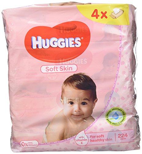 Huggies Soft Skin Toallitas para Bebé - Paquetes de 4 x 56 Unidades - Total: 224 Unidades