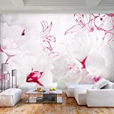 decomonkey | Fototapete Blumen 300x210 cm XL | Tapete | Wandbild | Wandbild | Bild | Fototapete | Tapeten | Wandtapete | Wanddeko | Wandtapete | Natur Pflanzen Lilie rosa