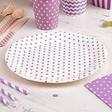 Pappteller Polka Dots lila 8 Stück - Einwegteller Hochzeit Partyteller Kindergeburtstag Punkte lila ca. 23 cm
