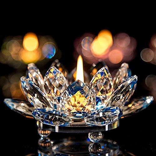 ristall Glas Lotus Blume Kerze Tee Licht Halter Buddhist Kerzenständer (Blau) ()
