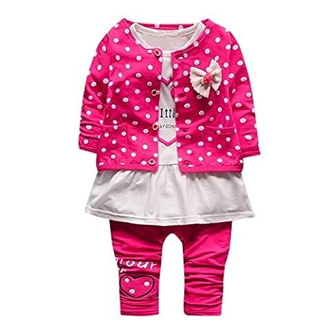 Sannysis 3Pcs Baby Mädchen Hemd + Kinder Hosen + Outwear Prinzessin Kleider Outfits Set(6-24Monat) (M, Rose Red)