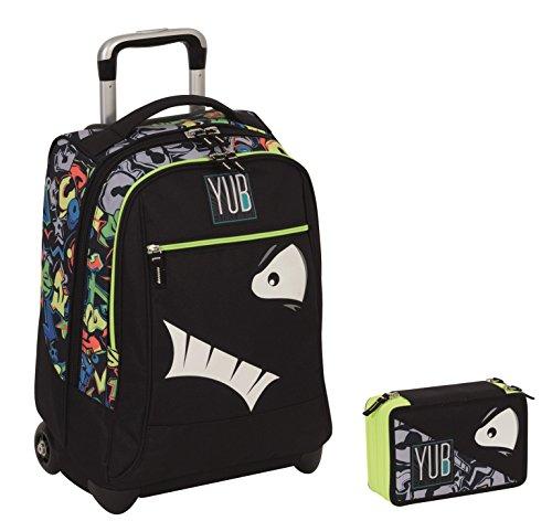 Trolley yub maxi + astuccio 3 zip - svalvolati - nero faccina - spallacci a scomparsa! uso zaino scuola e viaggio