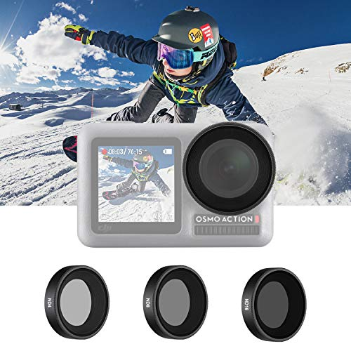 Neewer 3 Pack Filtersatz kompatibel mit DJI Osmo Action enthält ND4- ND8- ND16-Filter direktes Gewinde bei der Installation wasserdicht und ölbeständig für Sportarten (Schwarz)