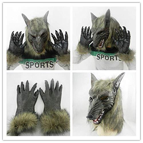 Latex gruselig beängstigend,Halloween Kostüm Tanz Requisiten, graue Wolfskopf Wolf Handschuhe, Horror Latex Maske,Helm Halloween Latex