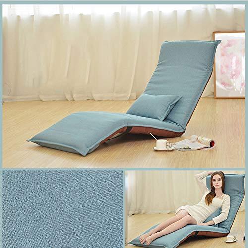Yxzn lazy sofa pieghevole da terra sedia tatami tessuto struttura in acciaio camera da letto a un piano divano da ufficio poltrona da salotto lavabile rimovibile, blu