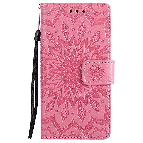 Für Huawei P8 Lite Fall, Prägen Sonnenblume Magnetic Pattern Premium Soft PU Leder Brieftasche Stand Case Cover mit Lanyard & Halter & Card Slots ( Color : Pink ) Pink