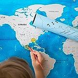 Scratch Off World Map–PREMIUM KUNSTSTOFF–nicht Abnutzungsspuren–81,3x 57,8cm–US Staaten vorgezeichnet–Geschenk für Traveler–Kratzbaum enthalten