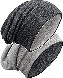 Grin&Bear unisex reversible (beidseitig tragbar) lange slouch Beanie Mütze M80