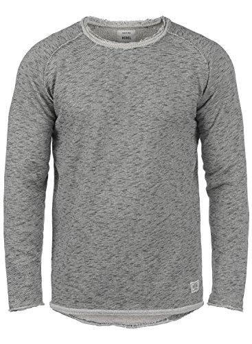 REDEFINED REBEL Matti Herren Sweatshirt Pullover Sweater mit Rundhals-Ausschnitt aus hochwertiger Baumwollmischung Meliert Antracit Grey