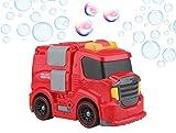 Gadgy Seifenblasenmaschine Feuerwehr Auto für Kinder und Draußen | Fahrendes Bubble Blower Machine Fire Truck | mit 118 ml. Seifenblasenlosung | Auto Rot
