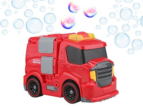 Gadgy Macchina Bolle di Sapone Camion dei Pompieri All'aperto | Mobile Sparabolle Bubble Machine Maker | 118 ml. Soluzione Incluso | Rosso Auto