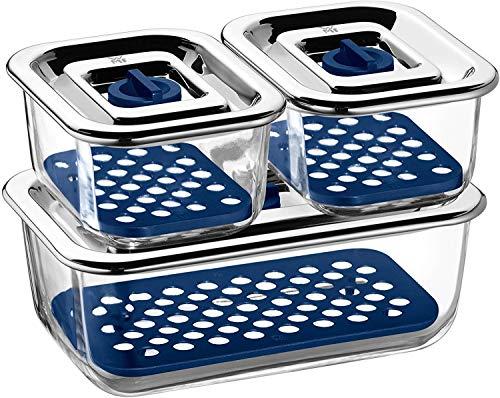 WMF Top Serve Frischhaltedosen-Set, 3-teilig rechteckig, Schale mit Abtropfgitter, luftdichtem Deckel, Frische-Ventil, Box zum Vorbereiten, Aufbewahren und Servieren