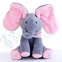 Abester Singing will fan the ears cute Elephant Plush Soft Toys Peek A Boo Pal Animated Sound Toys Baby Kids Children Doll Christmas Birthday Gift (Pink)