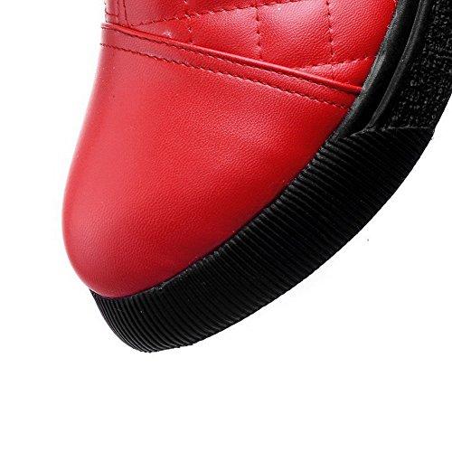 VogueZone009 Femme Zip à Talon Bas Matière Souple Couleur Unie Haut Bas Bottes Rouge