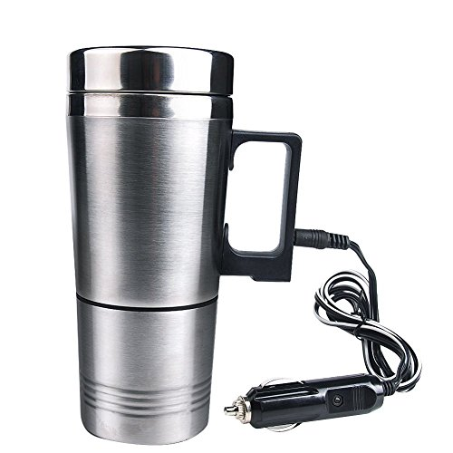 Mengshen Auto Elektrische Heizungs Tasse/Car Electric Heater Mug Heating Water Coffee Cup with Charger 12V Stainless Steel Car Cigarette Lighter Auto Kettle Pot Bottle Hot Portable Travel, CA03