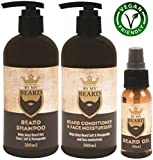 Beard Shampoo Conditioner Face Moisturiser Oil Complete Triple Pack Vegan Friendly